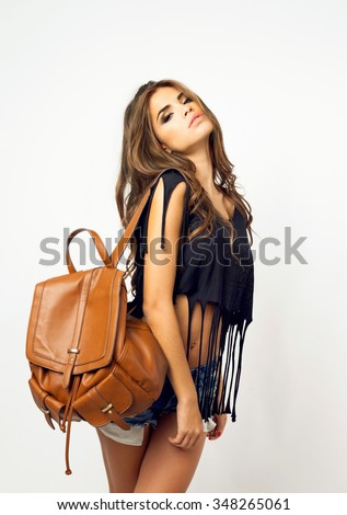 Soft vintage image of woman posing outdoor on white,emotional pretty teen face.swag,glamour,hight -key,pop-art,low key,grunge,club-style,vanilla,esquire,noir,sunlight,cheeky mood,dunhill,deep blue - stock photo