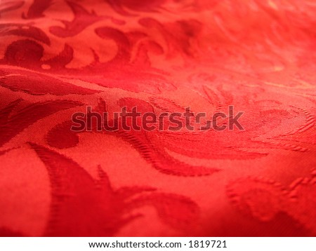 Soft warm red fabric closeup