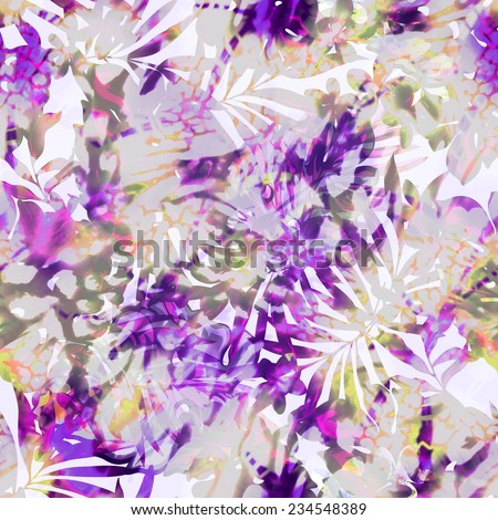 soft watercolor leaves with spots ~ seamless background - stock photo