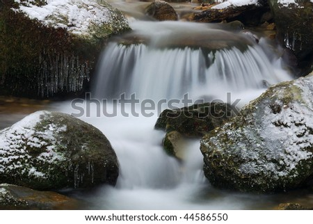 soft waterfall on icy rocks