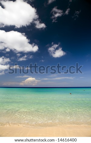 Soft waves break against the golden sands of a tropical paradise - stock photo