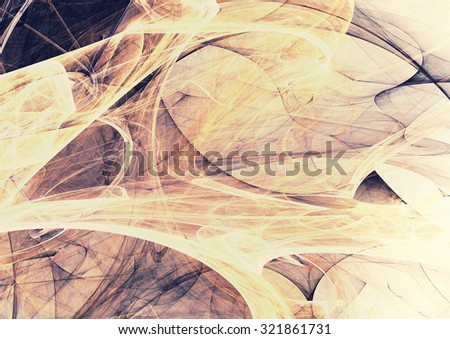 Soft yellow and grey color pattern. Abstract vintage background with light smoke. Modern futuristic template for creative graphic design. Fractal art. - stock photo