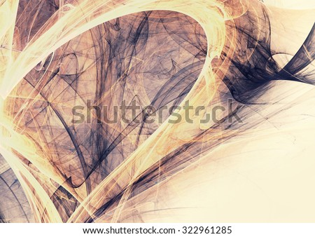 Soft yellow and grey color pattern. Abstract vintage background with light smoke. Modern futuristic template for creative graphic design. Fractal art - stock photo