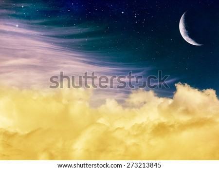 Soft yellow and pink clouds with a crescent moon and stars at night.  This fantasy Image displays a distinct but pleasing paper grain and texture at 100 percent for added depth. - stock photo