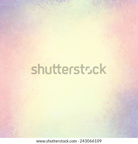 soft yellowed pink and blue background with faded white center and pastel color border, vintage background grunge texture design - stock photo
