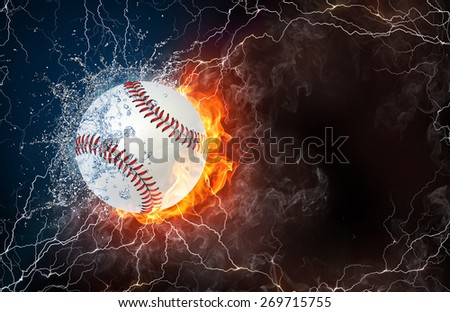 Softball ball on fire and water with lightening around on black background. Horizontal layout with text space. - stock photo