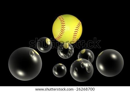 softball baseball with bubbles added - stock photo
