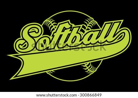 Softball Design Banner Illustration Softball Design Stock ...
