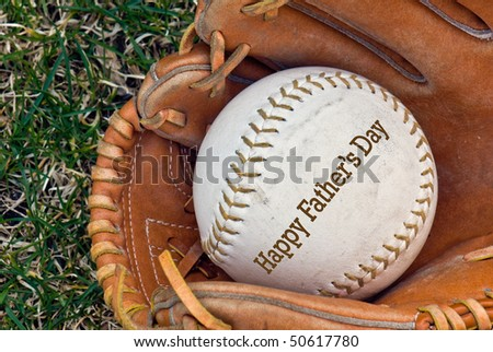 softball in glove for father's day - stock photo