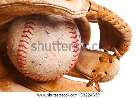 softball in mitt isolated on white background - stock photo