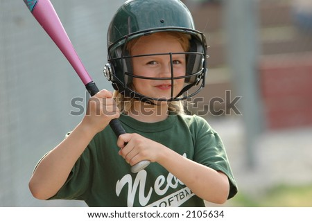 Softball with a Grin - stock photo