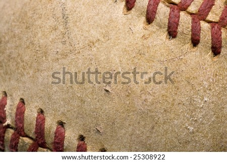 softball with red stitching baseball isolated on white background - stock photo
