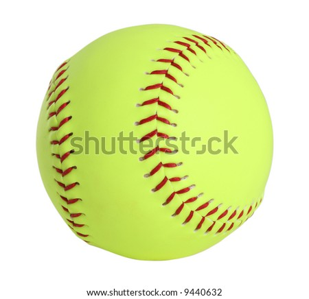 Yellow Softball Clip Art Softball yellow with red.