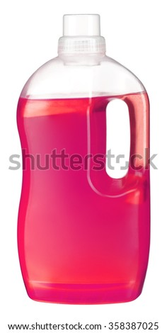 Softener bottle / studio photography is transparent plastic bottle with red liquid laundry detergent, cleaning agent, bleach or fabric softener - isolated on white background - stock photo