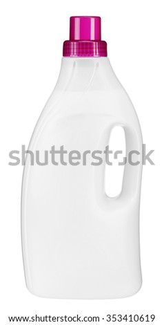 Softener bottle / studio photography of white plastic bottle with liquid laundry detergent, cleaning agent, bleach or fabric softener - isolated on white background - stock photo