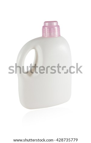 Softener in White Plastic Bottle Isolated on White Background. Bottle with Liquid Laundry Detergent.