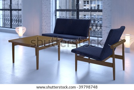 Softly lit blue industrial loft interior with modern Danish furniture (3D render) - stock photo