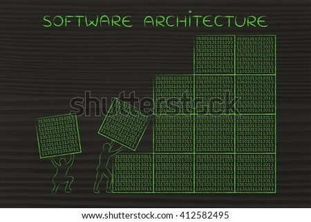 software architecture: men lifting blocks with lines of binary code, metaphor illustration