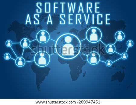 Software as a Service concept on blue background with world map and social icons. - stock photo