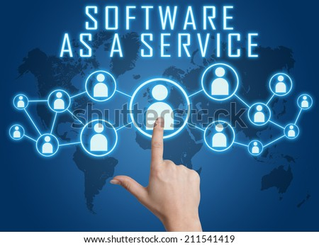 Software as a Service concept with hand pressing social icons on blue world map background.