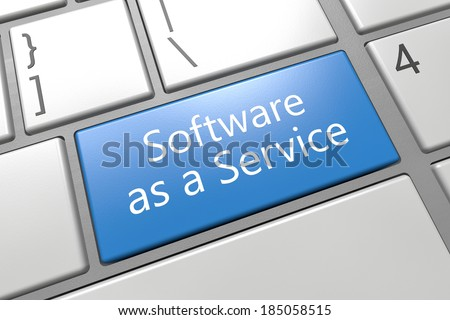 Software as a Service - keyboard 3d render illustration with word on blue key - stock photo
