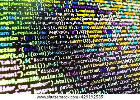 Software background. Monitor photo. Developer working on software codes in office. Programming code on computer screen. Source code photo. Writing program code on computer. Programmer occupation.   - stock photo
