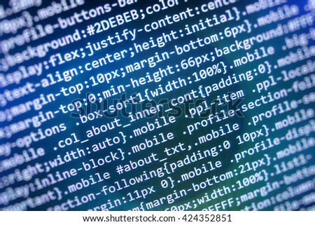 Software background. Programming code. Programmer occupation.   Website codes on computer monitor. Website development. Programming code abstract screen of software developer.   - stock photo