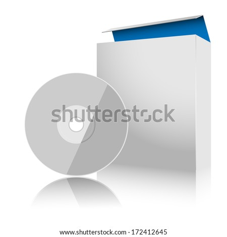 Software Box and Disc on white background. Illustration.