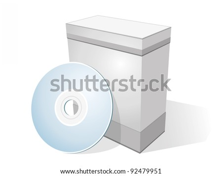 Software box with disc isolated on white