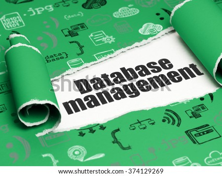 Software concept: black text Database Management under the piece of  torn paper