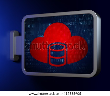 Software concept: Database With Cloud on advertising billboard background, 3D rendering - stock photo