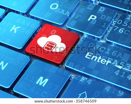 Software concept: Database With Cloud on computer keyboard background - stock photo