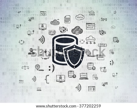 Software concept: Database With Shield on Digital Paper background - stock photo
