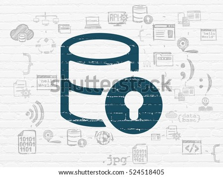 Software concept: Painted blue Database With Lock icon on White Brick wall background with Scheme Of Hand Drawn Programming Icons