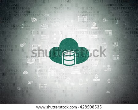 Software concept: Painted green Database With Cloud icon on Digital Data Paper background with  Hand Drawn Programming Icons - stock photo