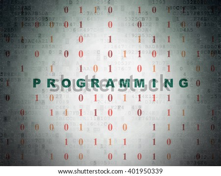 Software concept: Painted green text Programming on Digital Paper background with Binary Code - stock photo