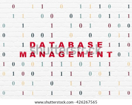Software concept: Painted red text Database Management on White Brick wall background with Binary Code - stock photo