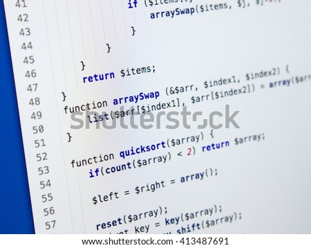 Software developer programming code. Abstract computer script code