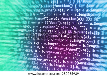 Software developer programming code. Abstract computer script source code. Code text written and created entirely by myself.  - stock photo