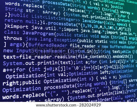 Software developer programming code. Abstract computer script source code. Shallow depth of field, selective focus effect. Code text written and created entirely by myself. - stock photo