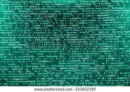Software developer programming code. Abstract modern virtual computer script. Work of software developer programmer on desktop screen closeup. Online Internet cyberspace reality concept background.  - stock photo