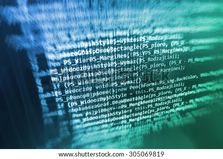 Software developer programming code on computer. Abstract computer script source code. Shallow depth of field, selective focus effect. Code text written and created entirely by myself - stock photo