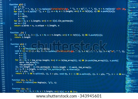 Software developer programming code on computer. Abstract computer script source code. Shallow depth of field, selective focus effect. All code and text written and created entirely by myself. - stock photo