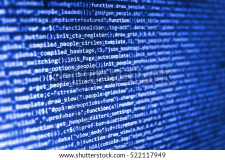 Software development. Computer science lesson. IT specialist workplace. Developer working on websites codes in office. Binary digits code editing. Abstract screen of software.