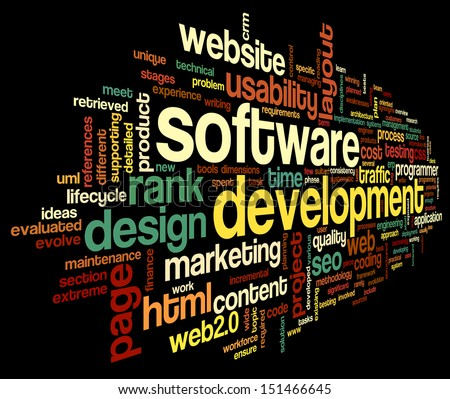 Software development concept in tag cloud on black background - stock photo