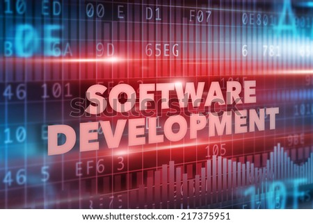 Software development concept red text red background - stock photo