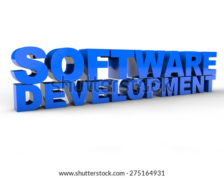 Software Development 3D Text over white Background - stock photo