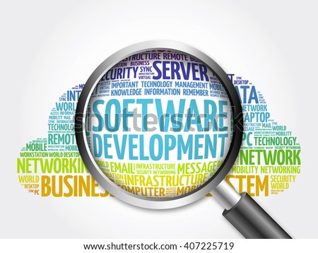 Software development word cloud with magnifying glass, business concept - stock photo