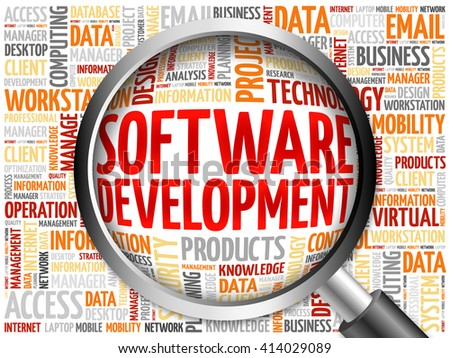 Software development word cloud with magnifying glass, business concept