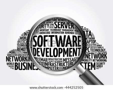 Software development word cloud with magnifying glass, business concept 3D illustration